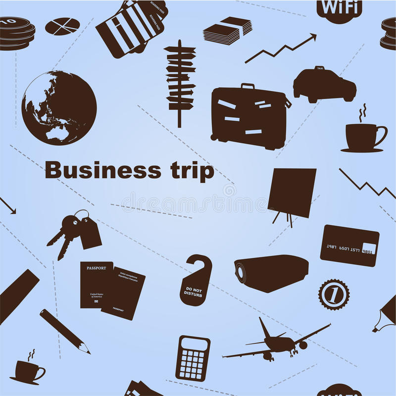 Seamless business trip pattern royalty free illustration