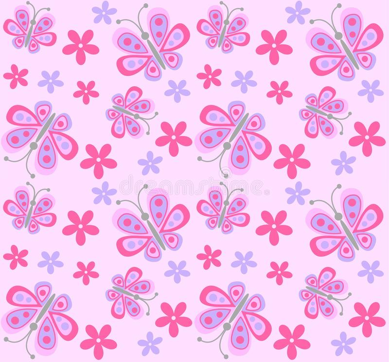 Seamless butterfly and flower pattern vector illustration