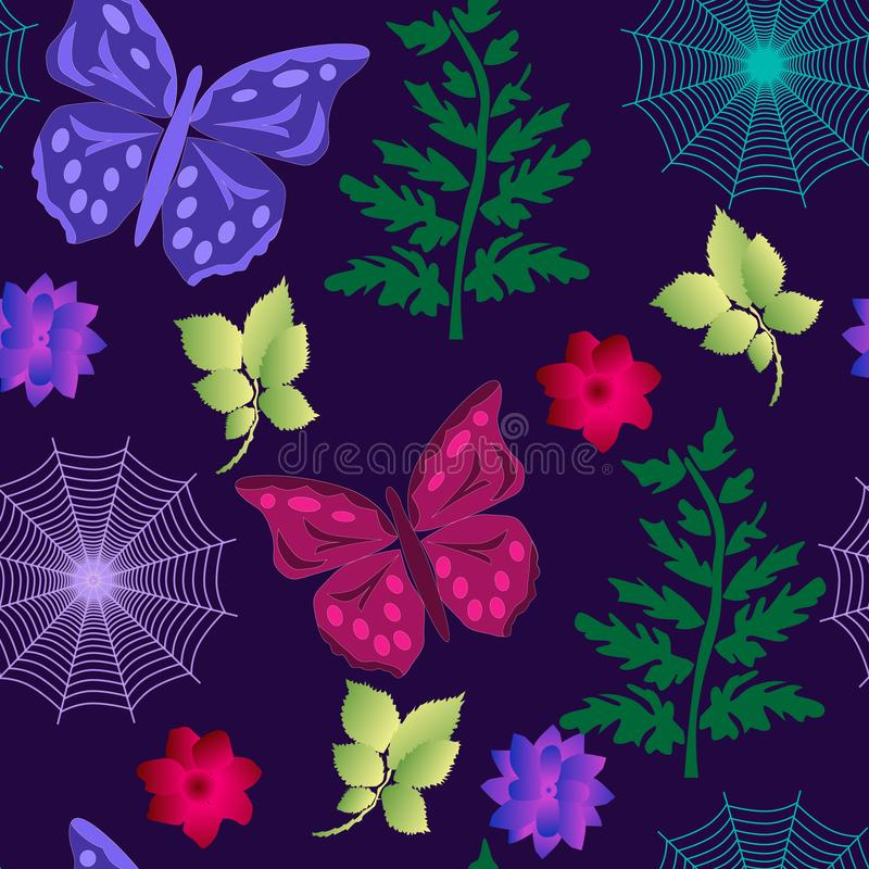 Seamless butterfly pattern, spider webs, branches on purple vector illustration