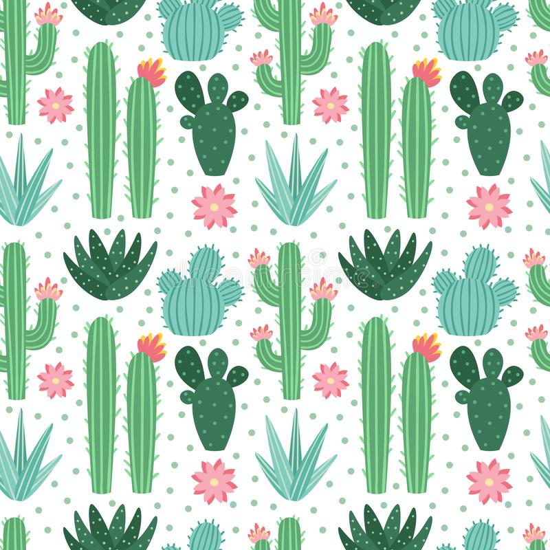 Free Seamless Cactus Pattern. Exotic Desert Cacti Houseplants, Repeating Cactuses Vector Background Royalty Free Stock Photos - 134553928