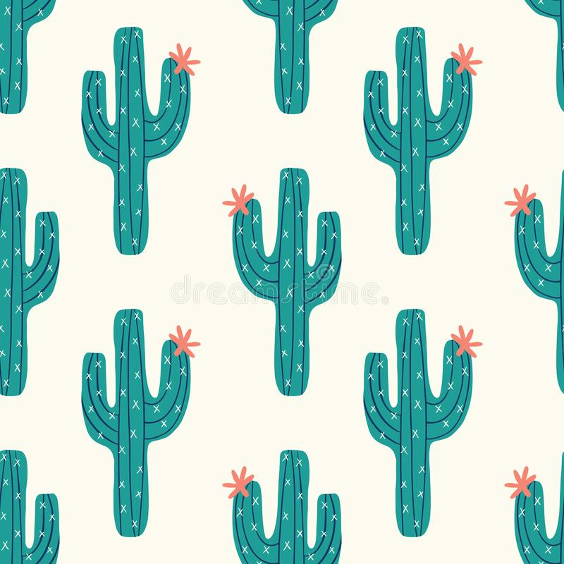 Seamless cactus pattern with vector green cactus on a cream background royalty free illustration