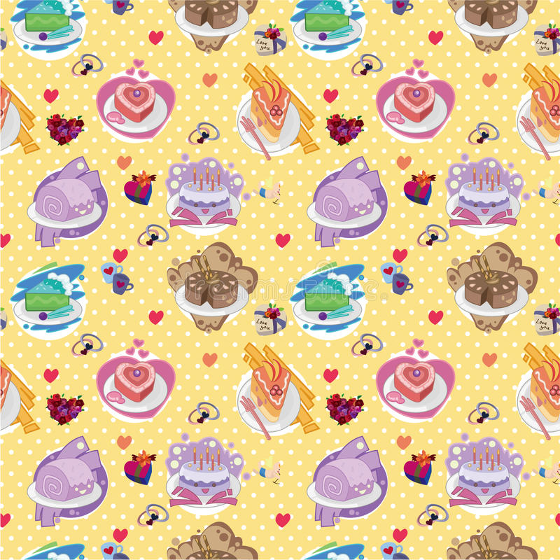 Seamless Cake Pattern Stock Images