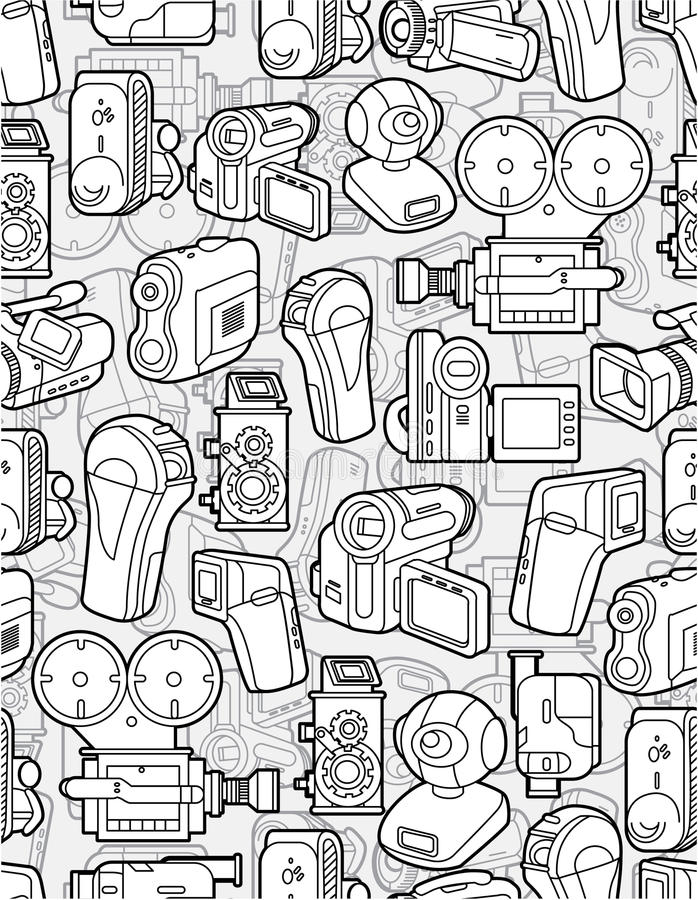 Download Seamless camera pattern stock vector. Image of graphic - 17261276
