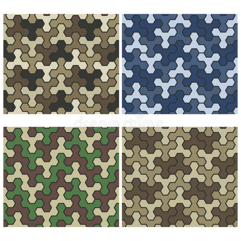Free Seamless Camouflage Geometric Pattern Set. Three And Six Color V Royalty Free Stock Image - 63275926