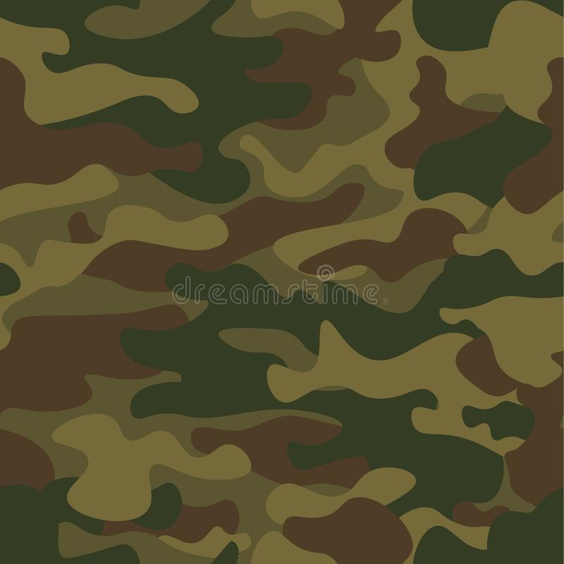 Seamless camouflage pattern. Khaki texture, vector illustration. Camo print background. Abstract military style backdrop stock illustration