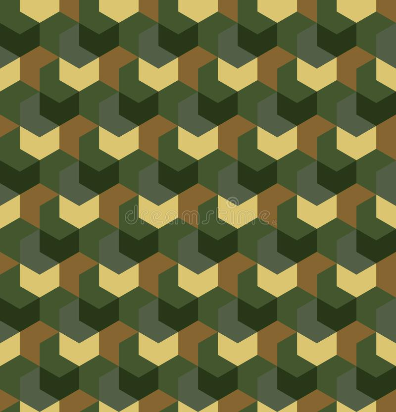 Seamless camouflage in simple Green and Brown khaki repeating pattern. Polygonal mosaic series for your design. Vector stock illustration