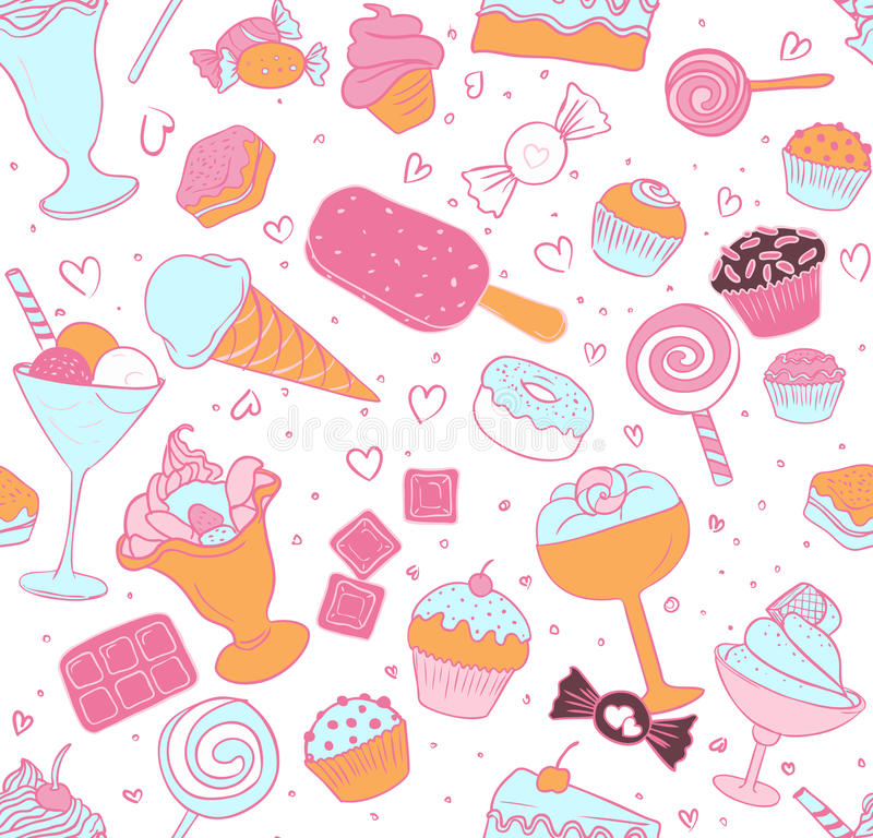 Seamless candy pattern royalty free illustration