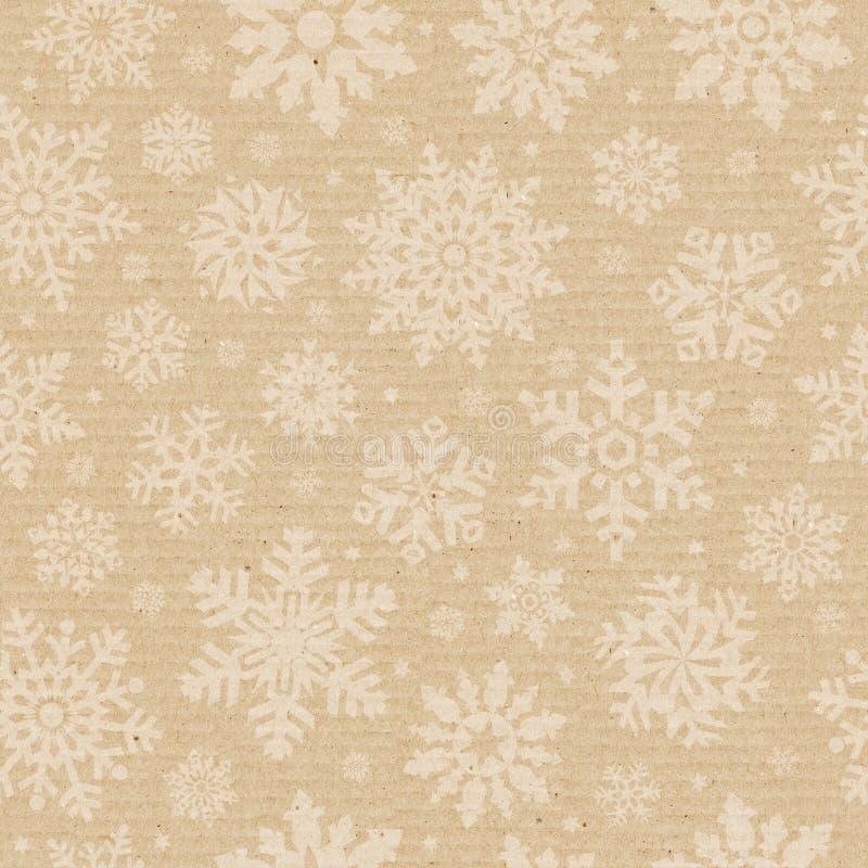 Seamless cardboard pattern with snowflake. stock photos