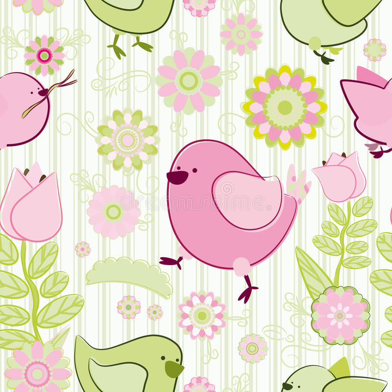 Seamless cartoon background. Seamless pink and green background. Collection for Mom. Motive of birds and flowers
