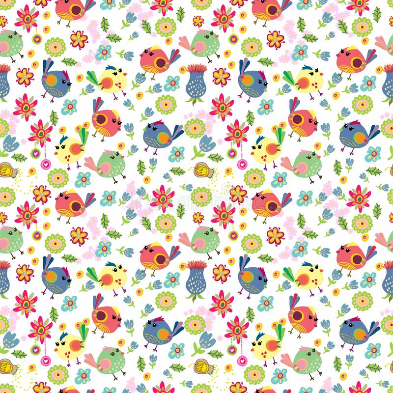 Download Seamless Cartoon Background With Color Birds Stock Illustration - Illustration: 30785832