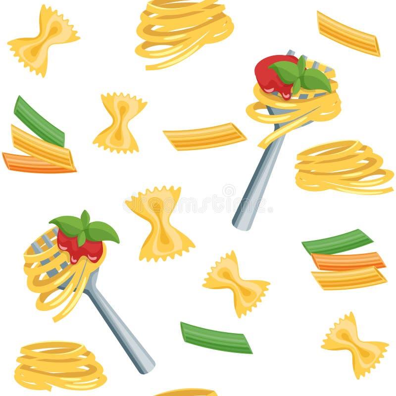 Seamless cartoon background with pasta. stock illustration