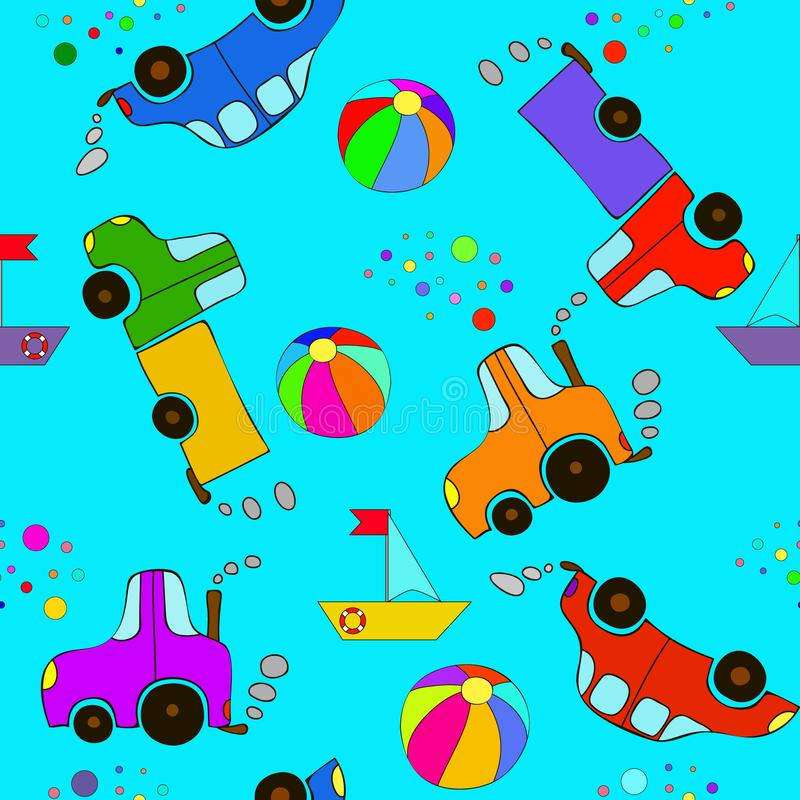 Seamless cartoon car, ball, bubbles, ship, tractor and truck pattern on a blue background. royalty free stock photography