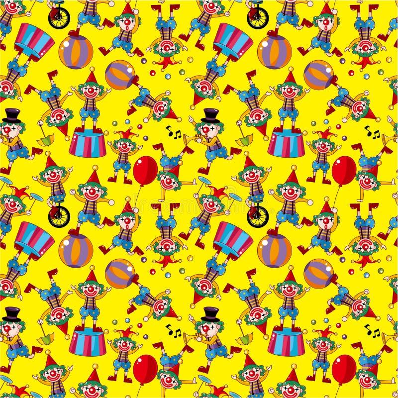 Seamless cartoon circus clown pattern royalty free illustration