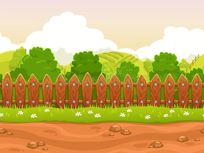 Seamless cartoon country landscape vector illustration