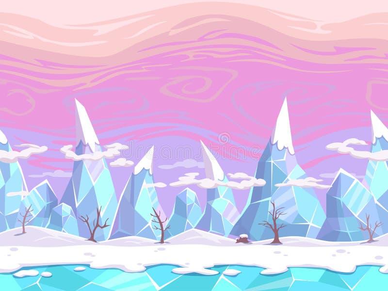 Seamless cartoon fantasy landscape vector illustration
