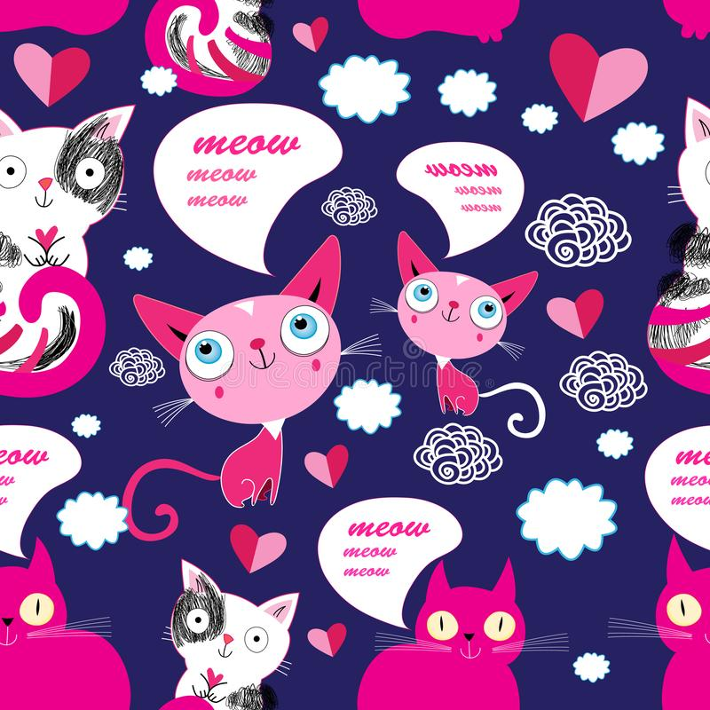 Seamless cartoon funny vector pattern of cats in love stock illustration