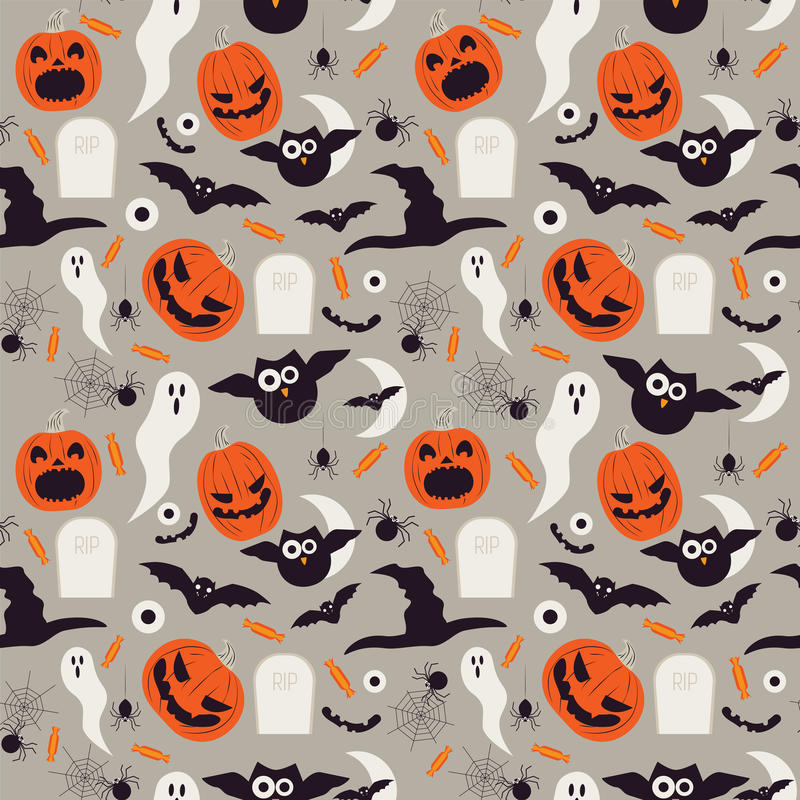 Seamless cartoon Halloween pattern. Halloween ghosts, bats and pumpkin boo characters. royalty free illustration