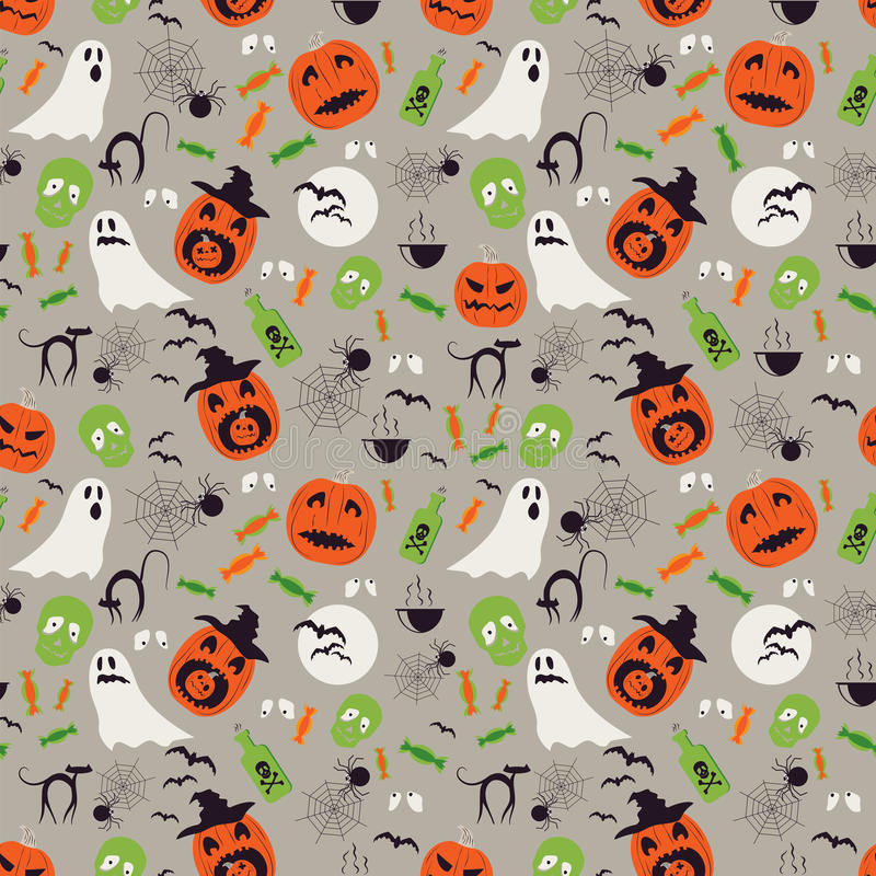 Seamless cartoon Halloween pattern. Halloween ghosts, spiders network and pumpkin boo characters. royalty free illustration