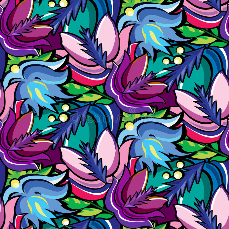 Seamless cartoon hand-drawn pattern with flowers vector illustration