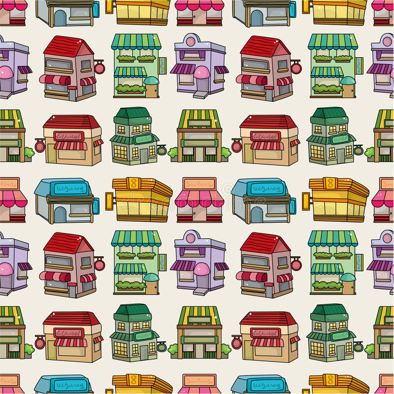 Seamless cartoon house/shop pattern vector illustration