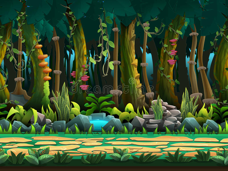 Seamless cartoon jungle landscape, vector unending background with separated layers. royalty free stock image