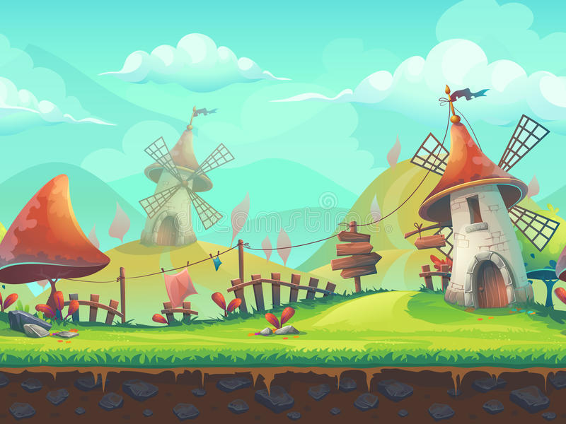 Seamless cartoon landscape with a windmill vector illustration