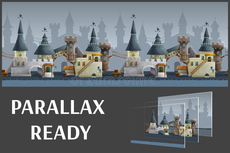 Seamless cartoon medieval city landscape, vector unending background with separated layers. vector illustration