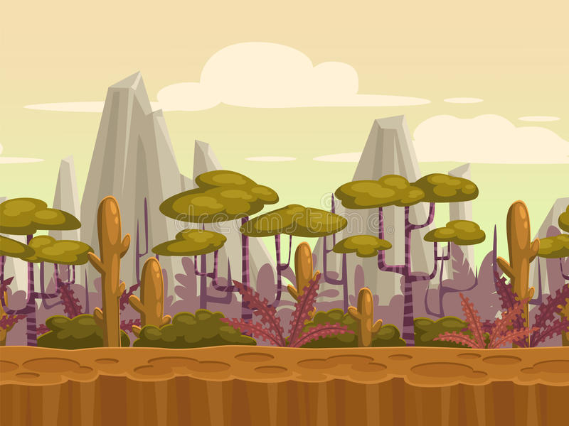 Seamless cartoon nature landscape stock illustration