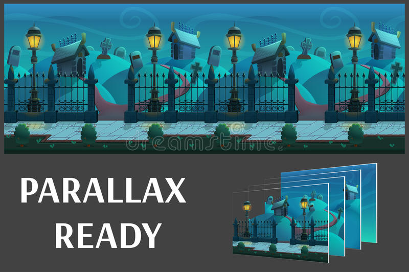 Seamless cartoon night landscape, with graves and crypts, vector unending background with separated layers. stock images