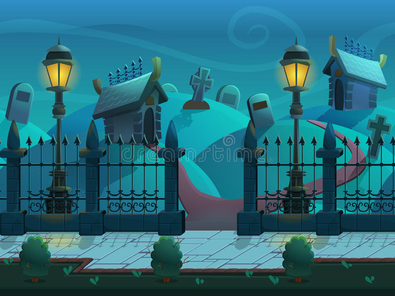 Seamless cartoon night landscape, with graves and crypts, vector unending background with separated layers. stock photos