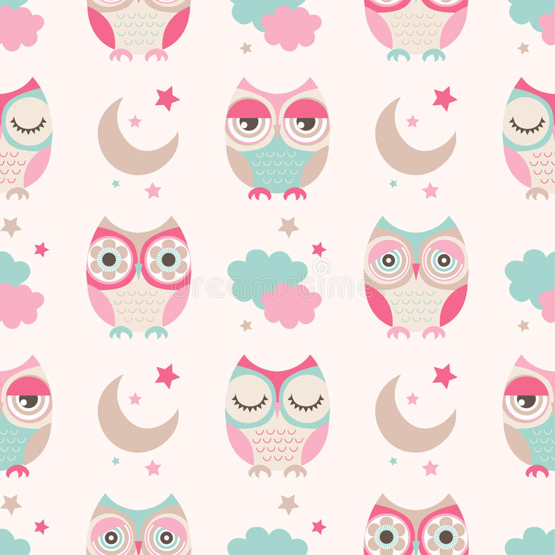 Seamless cartoon owls birds pattern vector illustration