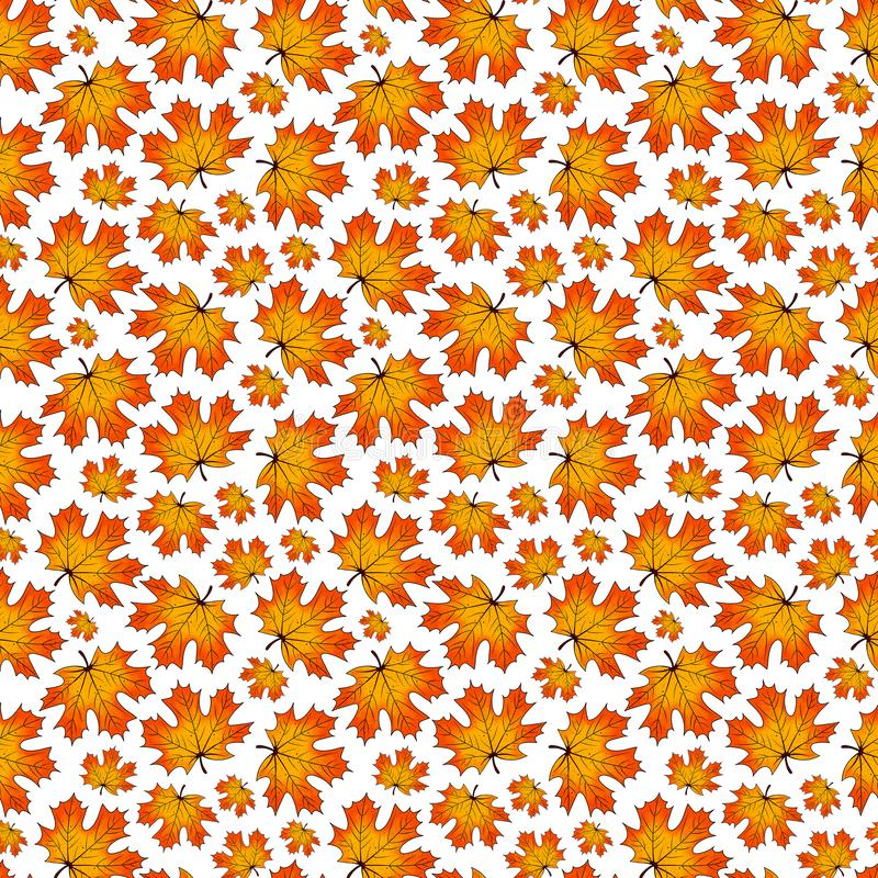 Seamless cartoon pattern of autumn maple leaves. Fall season print for banner, poster, textile, postcard, wrapping paper and web. Seamless cartoon pattern of vector illustration