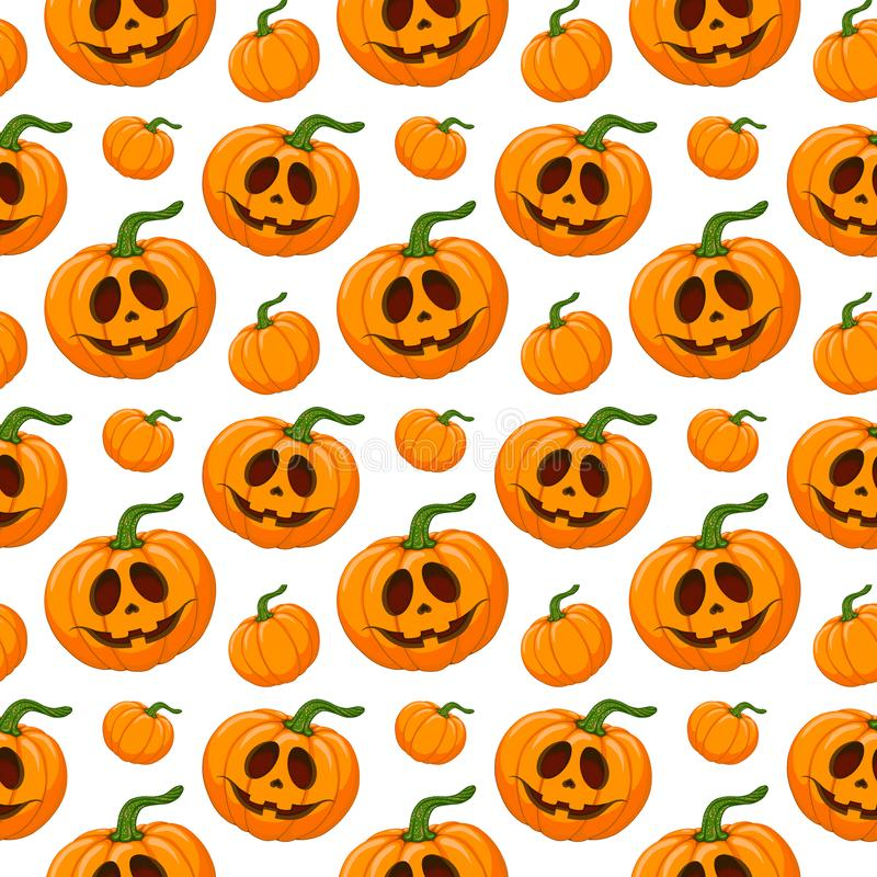 Seamless cartoon pattern of Happy Halloween face pumpkin. Print for textile, fabric, wrapping paper and web design royalty free illustration