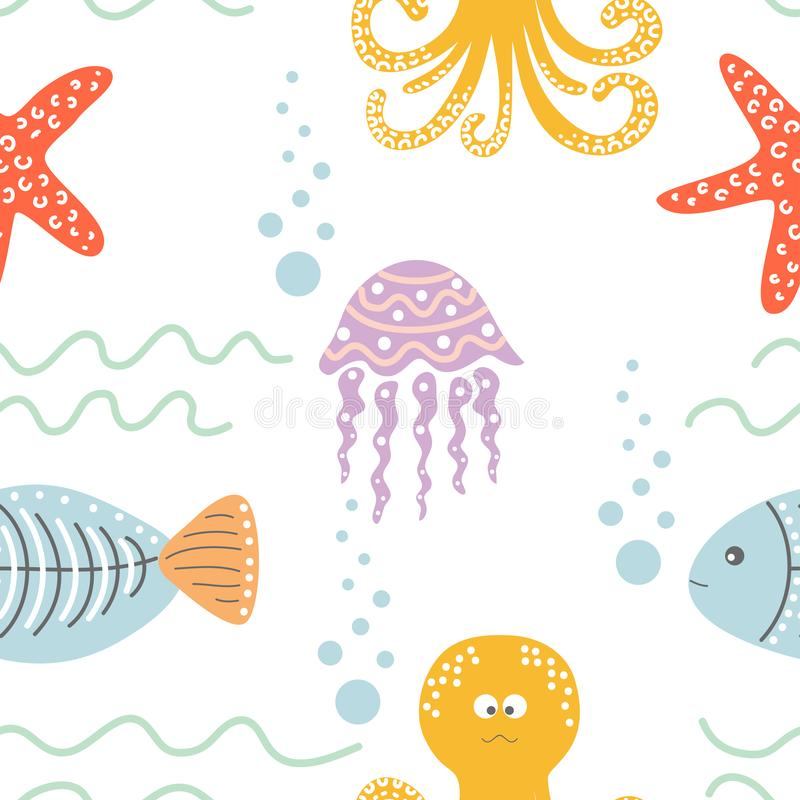 Seamless cartoon pattern with sea inhabitants - octopus, fish, starfish, jellyfish and waves. Vector stock illustration