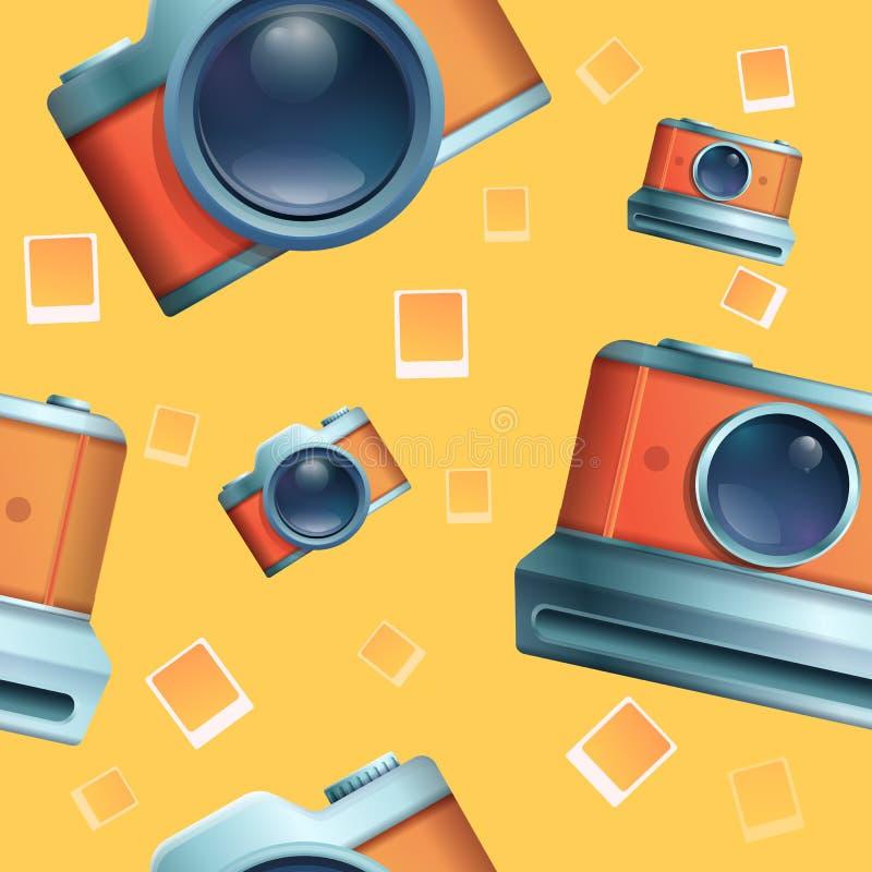 Seamless cartoon phot on the theme of vintage cameras. Vector illustration stock illustration