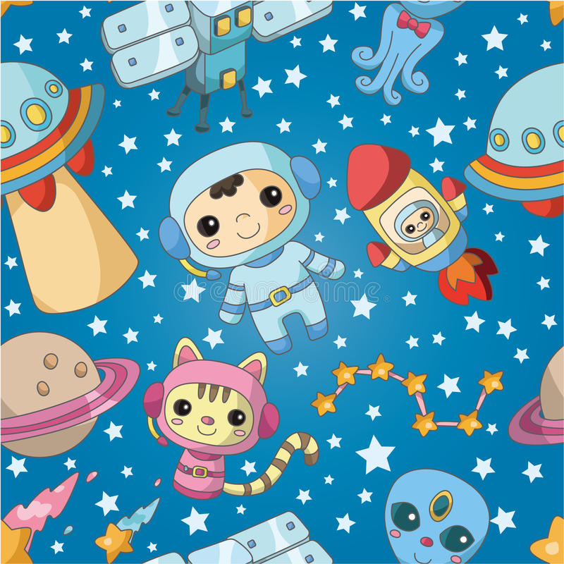 Download Seamless Cartoon Space Pattern Stock Vector - Illustration of astronauts, frame: 19330625
