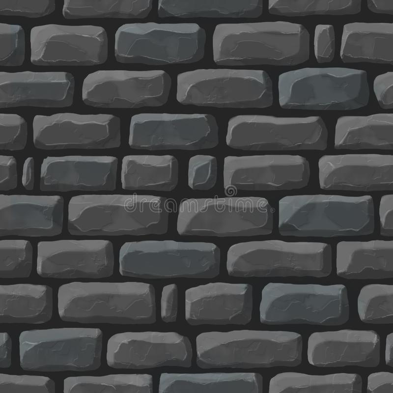 Seamless cartoon texture of dark cobblestone. Seamless cartoon texture of dark gray cobblestone stock illustration