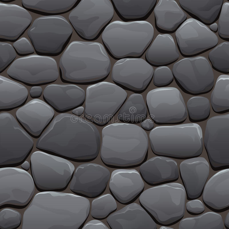 Seamless cartoon texture of an old cobblestone roadway. Made of gray stone royalty free illustration