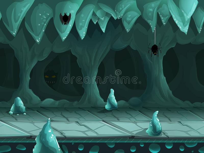 Seamless cartoon underground landscape, vector unending background with separated layers. royalty free stock photos