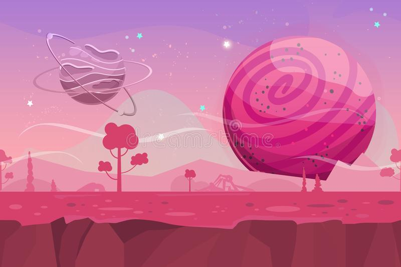 Seamless cartoon vector landscape. Vector endless background with ground, planet, trees, stars and sky layers. Fantasy sci-fi background for UI Game vector illustration