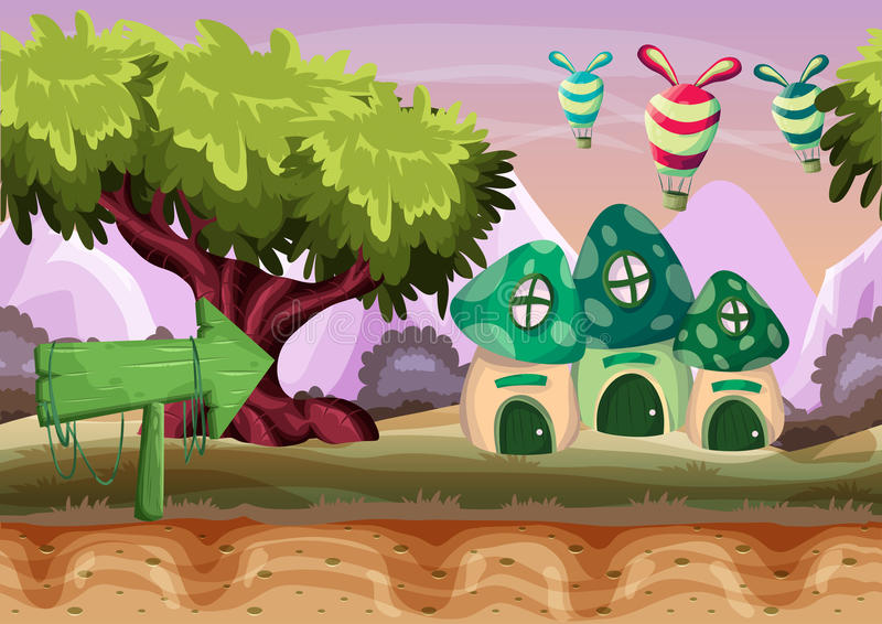 Seamless cartoon vector landscape with separated layers for game and animation. Game design asset stock illustration