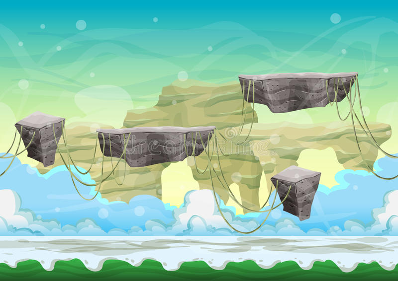 Seamless cartoon vector landscape with separated layers. For game and animation, game design asset stock illustration