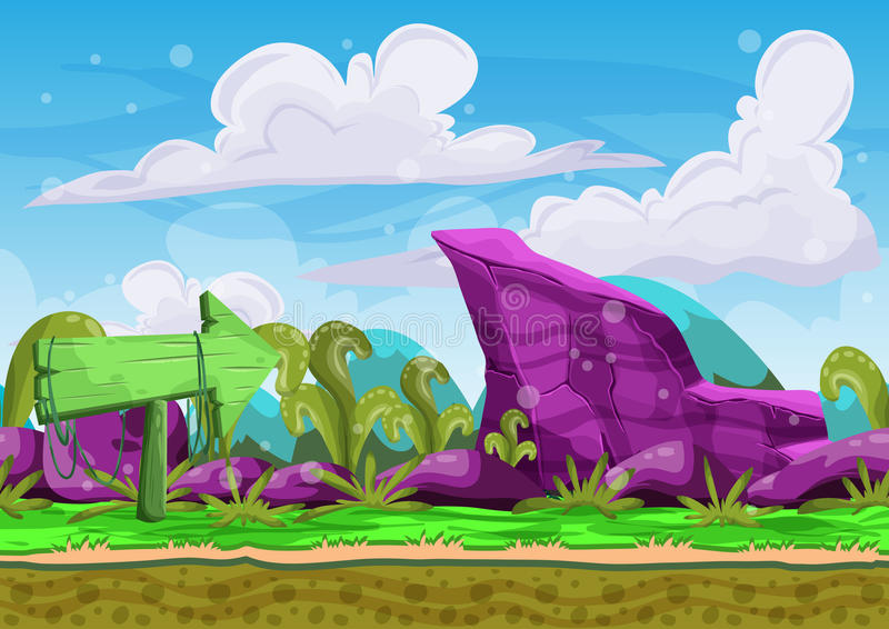 Seamless cartoon vector landscape with separated layers. For game and animation, game design asset vector illustration