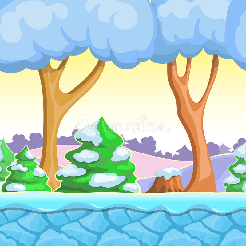 Seamless cartoon winter landscape, vector with snow trees, mountains, ice and sky layers. stock illustration