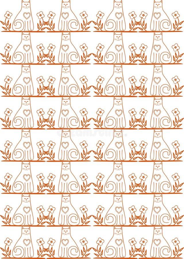 Download Seamless cat pattern stock illustration. Illustration of curves - 12270235