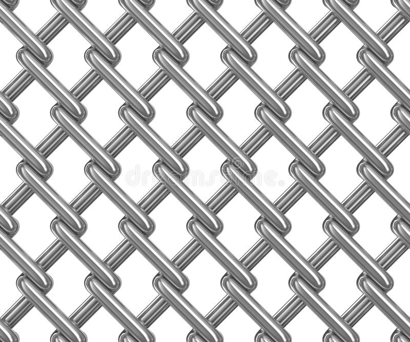 Seamless chainlink fence on white. Isolated 3D image royalty free illustration