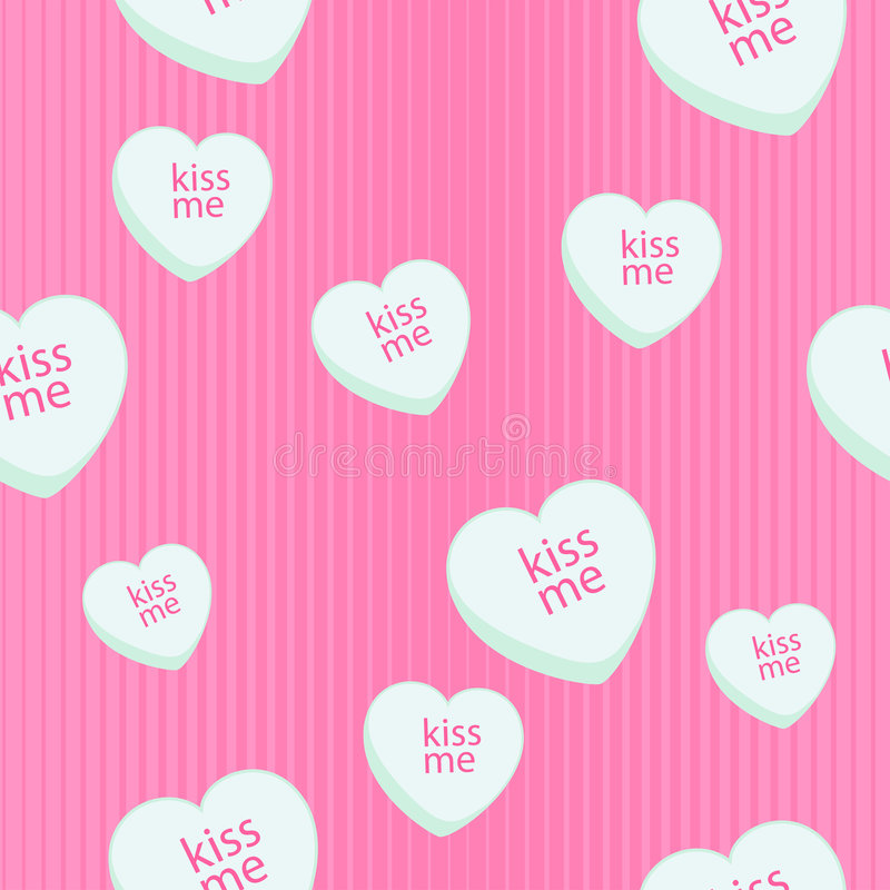 Seamless chalk heart candy background vector illustration