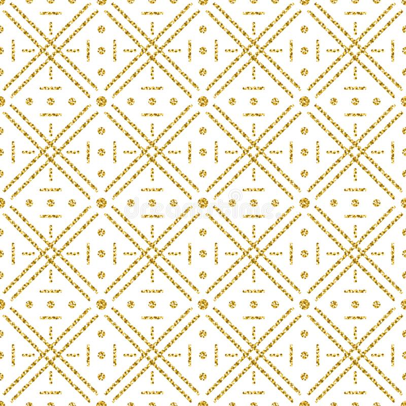 Seamless checked pattern with golden glittering line. Gold checkered pattern. Repeatable design. Can be used for fabric, scrap. Booking, wallpaper, web stock illustration