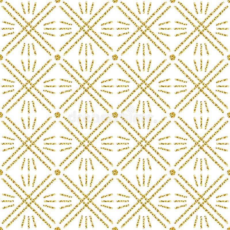 Seamless checked pattern with golden glittering line. Gold checkered pattern. Repeatable design. Can be used for fabric, scrap. Booking, wallpaper, web royalty free illustration