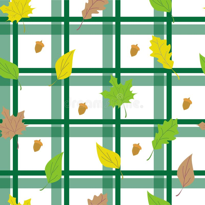 Seamless checkered background with leaves stock illustration